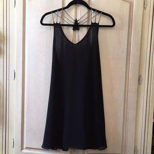 NWOT Millau Black Chiffon Dress with Chain Detail